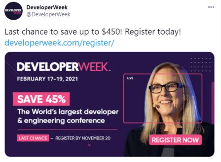 DeveloperWeek Event Twitter