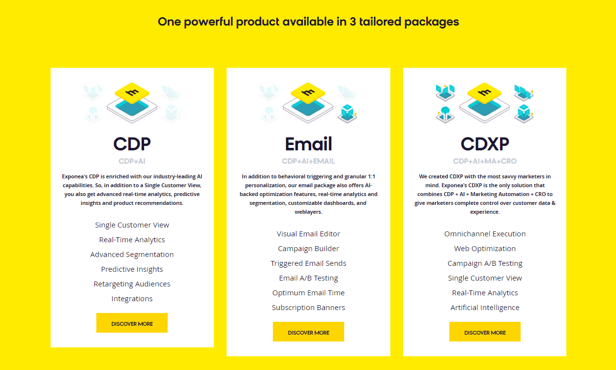 Exponea website package options
