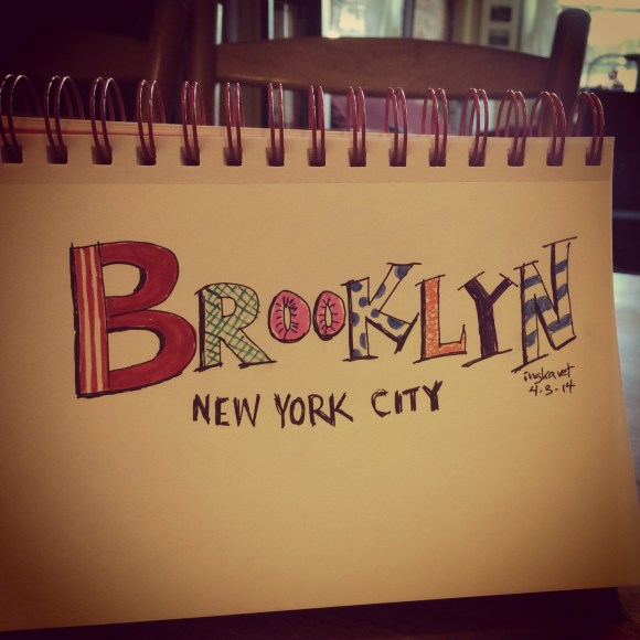 A whimsical hand lettering of Brooklyn New York City