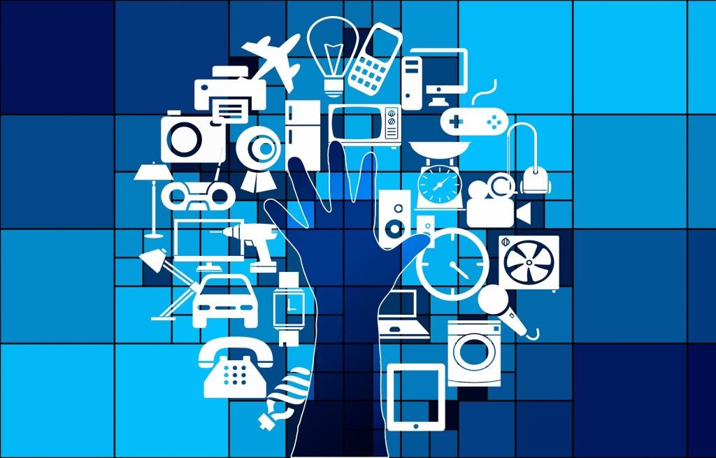 Desenho de uma árvore formada por uma mão e, ao seu redor, vários desenhos que remetem à tecnologia (celular, video game, computador, avião, etc).