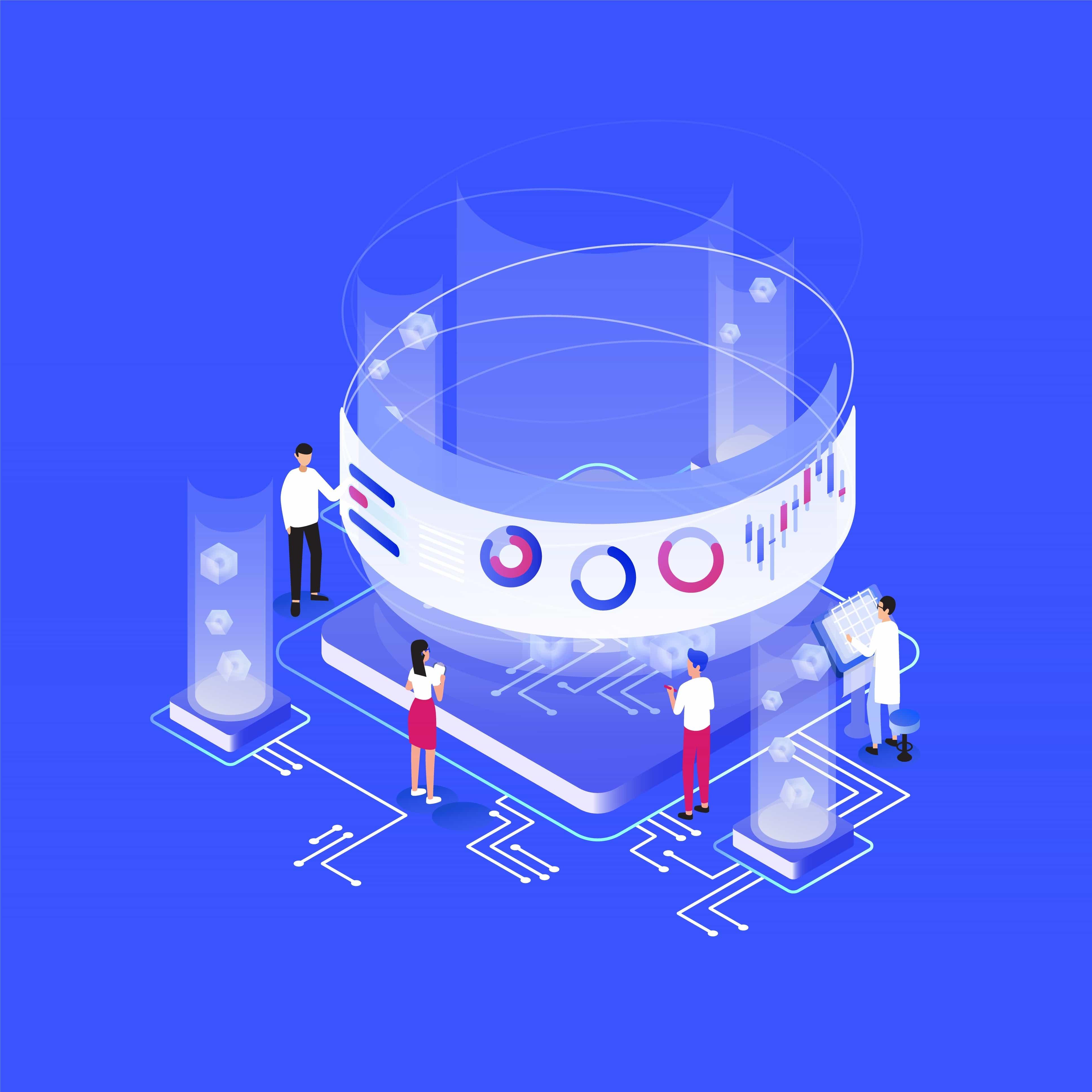 Imagem vetorizada mostrando pessoas trabalhando para proteger dados