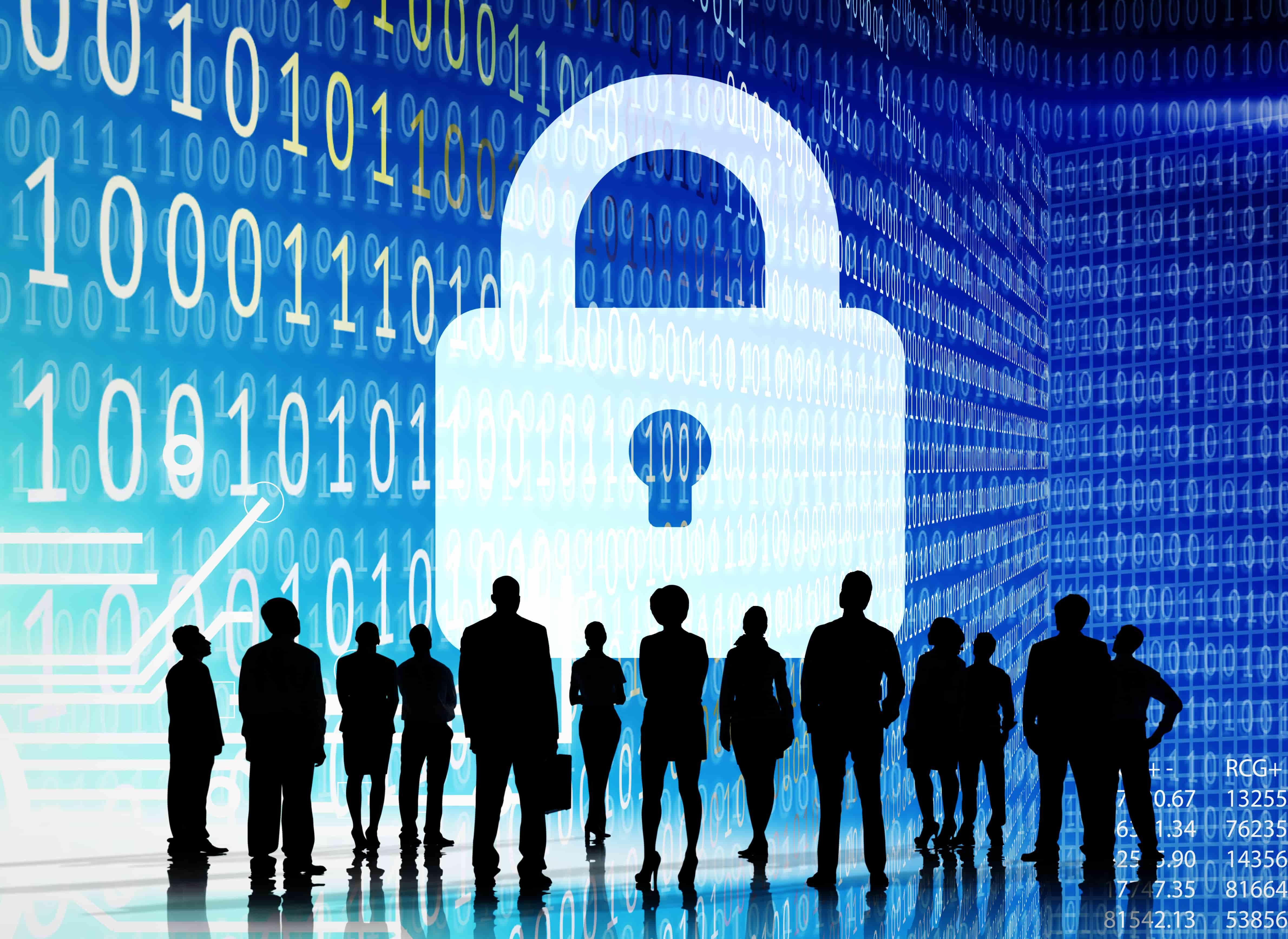 Imagem vetorizada mostrando sombra de pessoas e ao fundo um enorme cadeado representando a segurança e privacidade das pessoas.