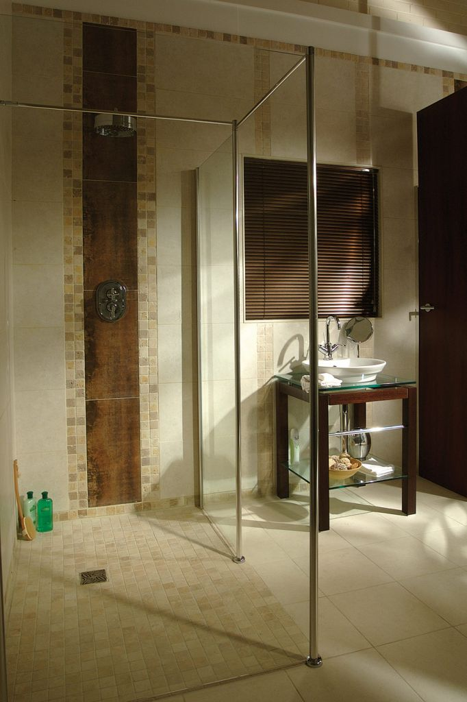 Universal shower handicap accessible roll in shower home