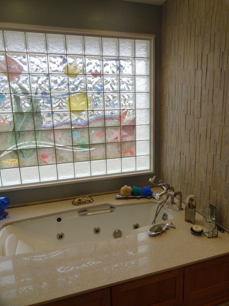Master Bathrooms With Glass Block  interior decorating