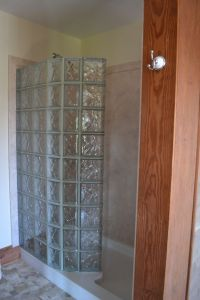 Glass block walk in shower with DIY interior shower wall ...