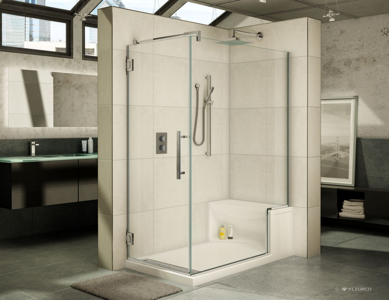 60 X 36 Fleurco Acrylic Shower Base With Bench Seat And