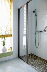 Frameless Shower Door On Enclosure - Stand Up Shower ...