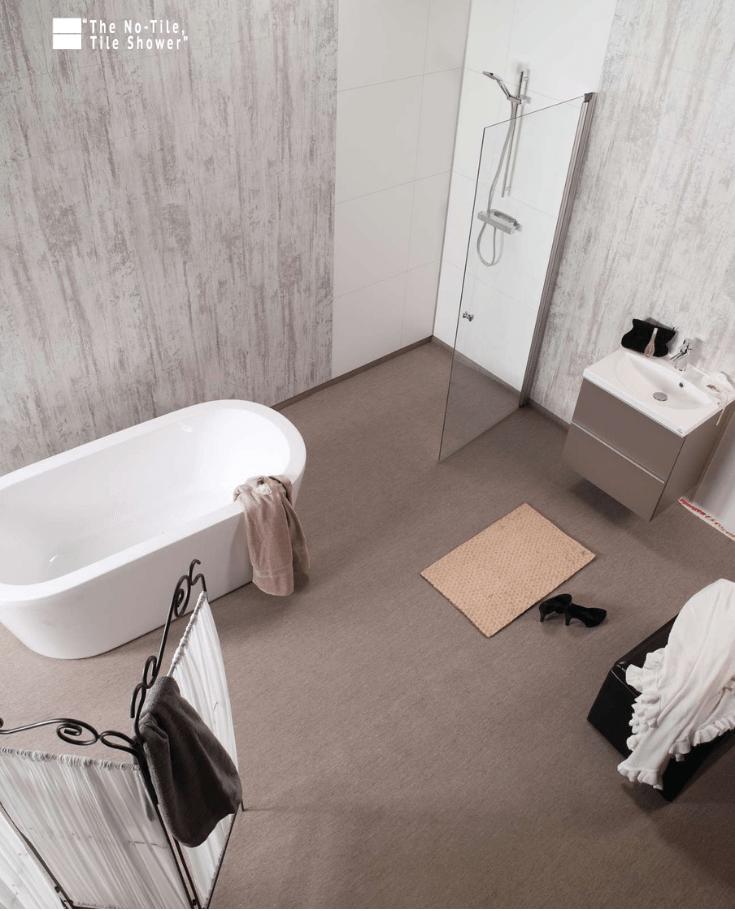 easy to clean modern farmhouse bathroom