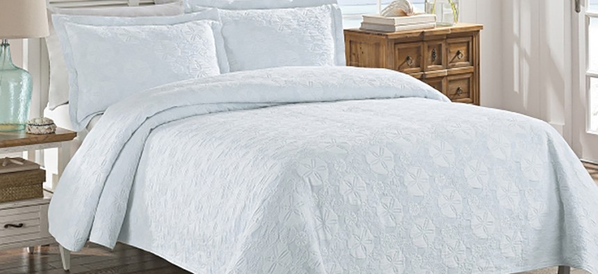 Coverlets usually have matching shams and they do not reach the floor.