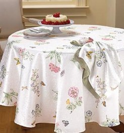Round Table linens available at InnStyle. This pattern is called Butterfly Meadow.