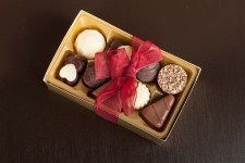 Gift chocolates in the golden box