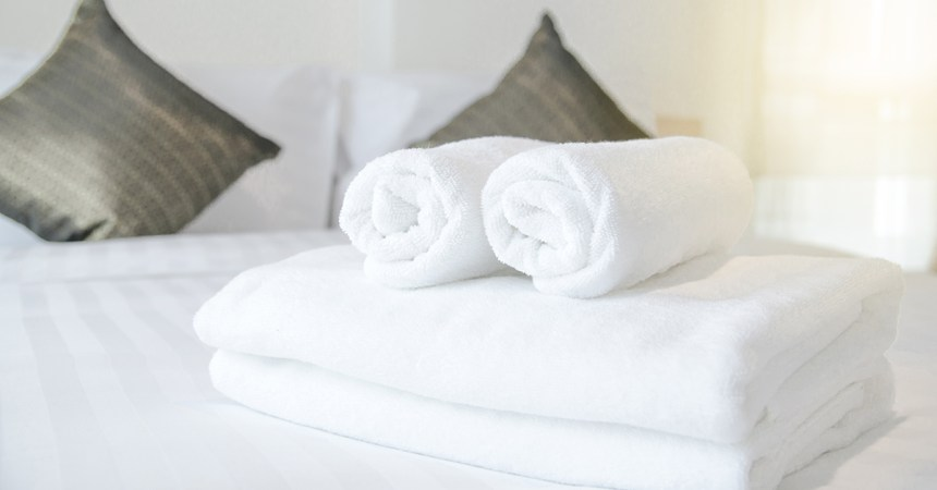 Fluffy towels in hotel room