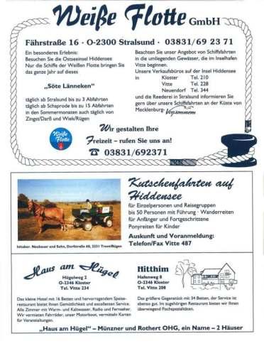 Hiddensee Gastgeberverzeichnis 1993 Seite 6