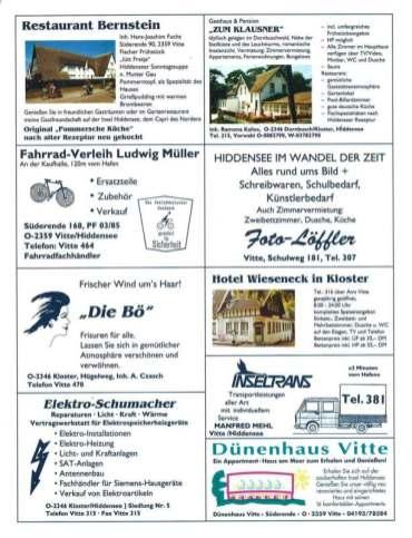 Hiddensee Gastgeberverzeichnis 1993 Seite 7
