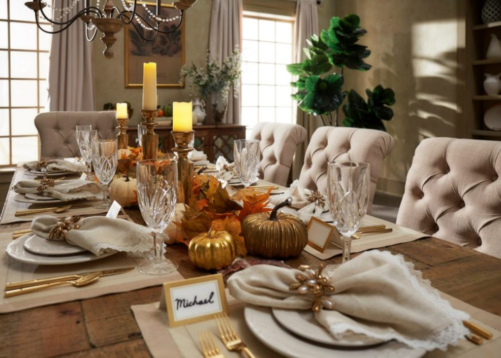holiday table decor showcasing entire tablescape