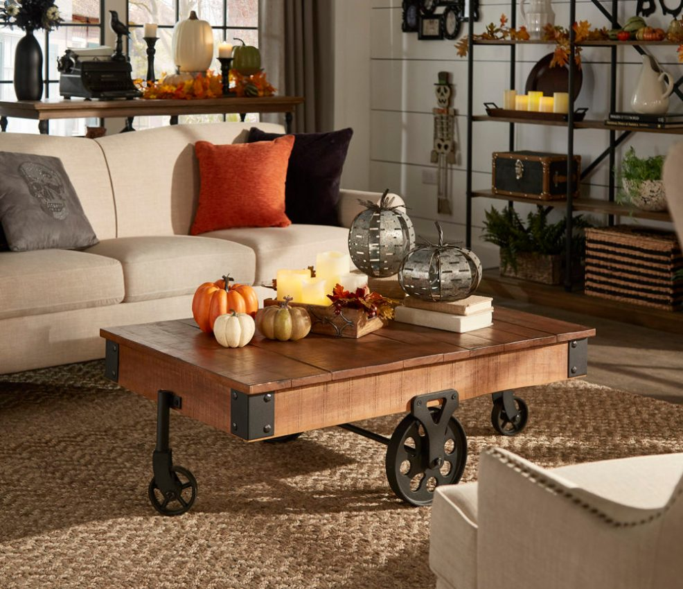 fall-living-room-decor-with-pumpkins-and-skeletons