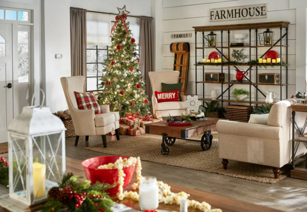 iNSPIRE Q Farmhouse Holiday Decor-- Christmas living room overview