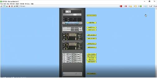 A droite de la baie informatique, le éléments de monitoring des serveurs