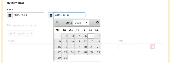 Screenshot - Holiday Dates on Exchange Agreement
