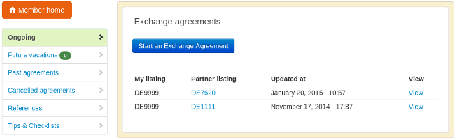 Screenshot of the ongoing exchange agrements page