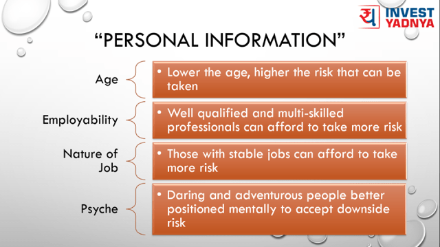 Risk depending upon personal attributes