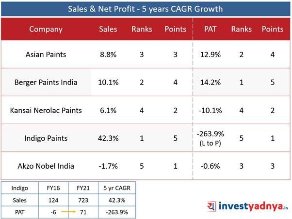 Top 5 Paint Companies- Sales & Net Profit Growth- 5 Years CAGR