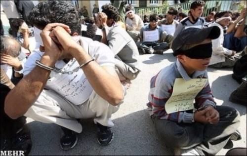 A group of thieves including children publically humiliated in Mashhad, Iran. July 3, 2011