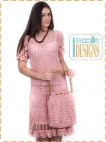 crochet top skirt handbag