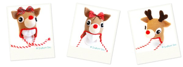 Santa's reindeer christmas hat crochet pattern by IraRott Inc.