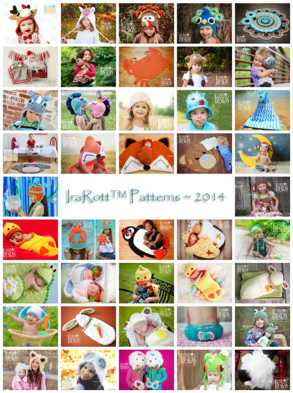 Animal Hat, Rug, Newborn diaper covers, cocoons and alien monster hat crochet patterns by Irarott