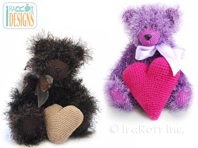 Stuffed Teddy bear with crochet heart pattern by Irarot