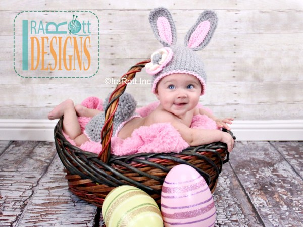 Easter Bunny Rabbit Animal Hat and Diaper Cover Set Crochet Hat Pattern by IraRott