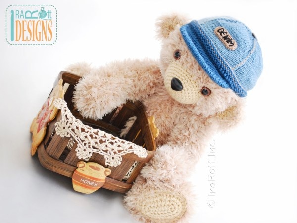 Teddy bear in denim cap Crochet Pattern