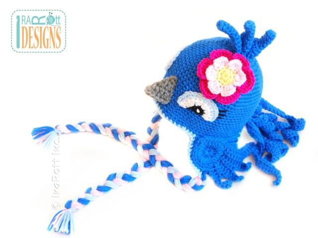 Blue Jay Parrot Bird Animal Hat with Flower Crochet Pattern by IraRott