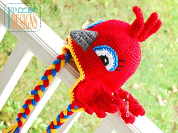 Red Cardinal Parrot Bird Animal Hat Crochet Pattern by IraRott