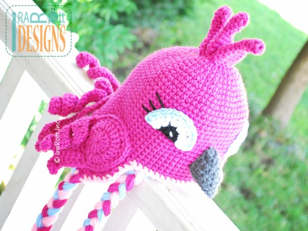 Pink Parrot Bird Animal Hat Crochet Pattern by IraRott