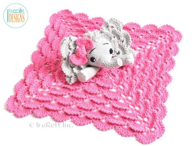 Elephant lovey security blanket crochet pattern by IraRott