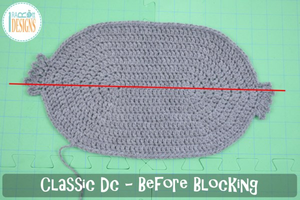 Classic double crochet stitch worked in the round SLANTED before blocking