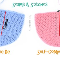 Straight and slanted double crochet stitches when working in the round