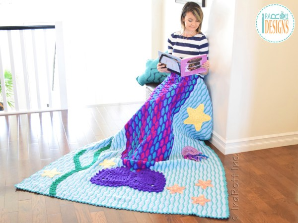Caribbean Sea Inspired - Crochet Mermaid Blanket Pattern by IraRott
