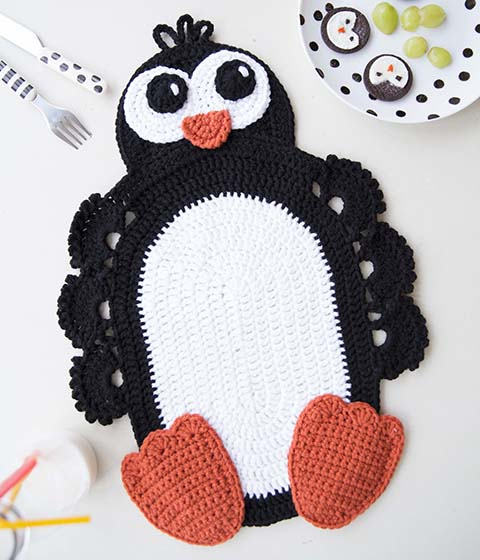 Penguin Placemat Bonus Pattern From Crochet Animal Rugs Book