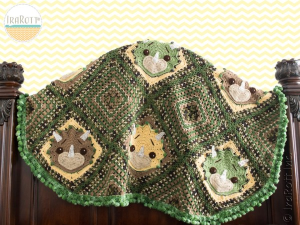 Tops The Triceratops Dino Blanket Pattern by IraRott