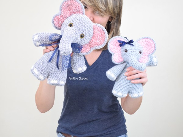 Josefina and Jeffery Chubby Little Elephants Crochet Amigurumi Pattern by IraRott