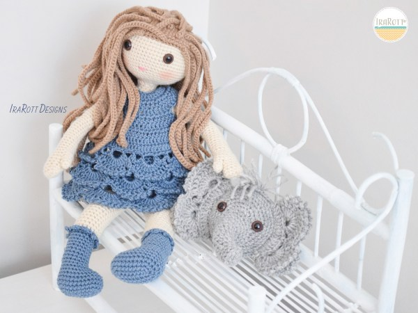 Josefina Doll and Jeffery Elephant Pillow_Crochet Pattern by IraRott