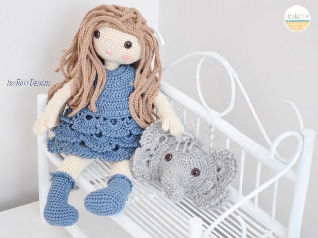 Josefina Doll and Jeffery Elephant Pillow_Crochet Pattern by IraRott