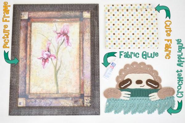 Materials For Framed Crochet Sloth