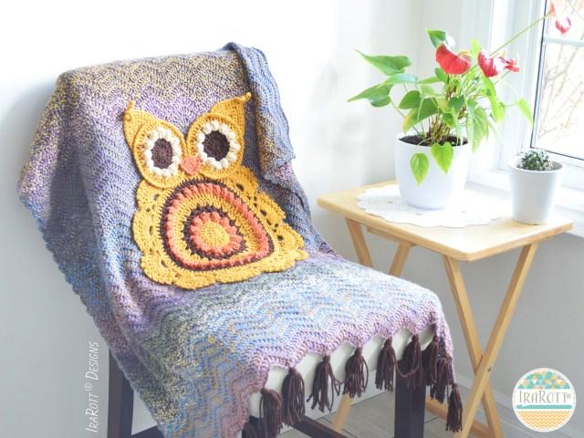 Retro Owl Crochet Blanket Pattern by IraRott