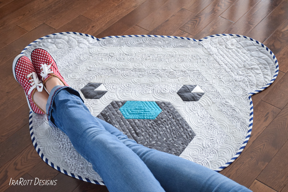 Cuddles The Hexi Bear Rug Quilting Pattern by_IraRott
