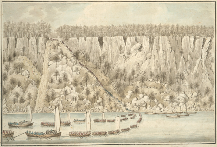 Depiction of the British invasion at the Palisades on the morning of November 20, 1776, near Fort Lee, New Jersey.