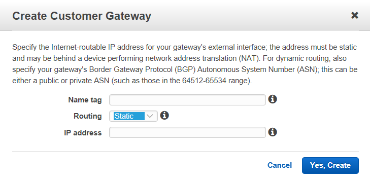 Creating Customer Gateway configuration